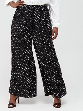 V by Very Curve V By Very Curve Viscose Wide Leg Trousers - Spot Print Picture