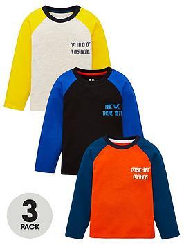 V by Very V By Very Boys 3 Pack Slogan Long Sleeve Raglan T-Shirt - Multi Picture