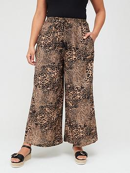 V by Very Curve V By Very Curve Wide Leg Trousers - Print Picture