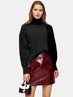 topshop-cashmere-crop-roll-neck-jumper-charcoal