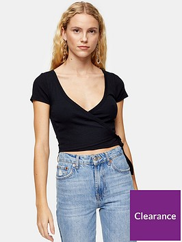 topshop-ballet-wrap-rib-top-black