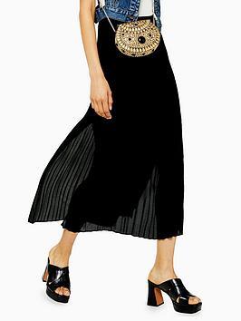 topshop-plain-crystal-pleat-midi-skirt-black
