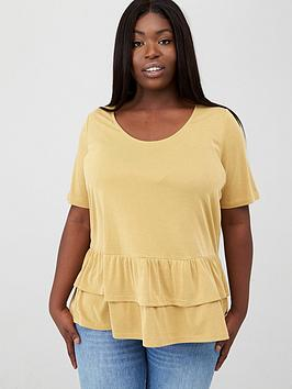V by Very Curve V By Very Curve Ruffle Hem Rib Tee - Multi Picture