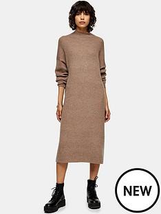 topshop-topshop-wool-mix-midi-dress-brown