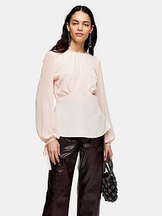 topshop-plain-sheer-sleeve-tea-blouse-pink
