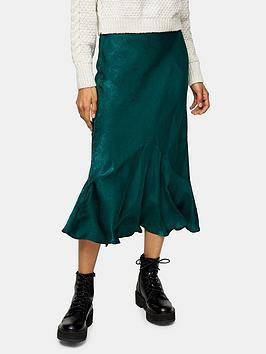 topshop-tall-plain-satin-flounce-midi-skirt-dark-green