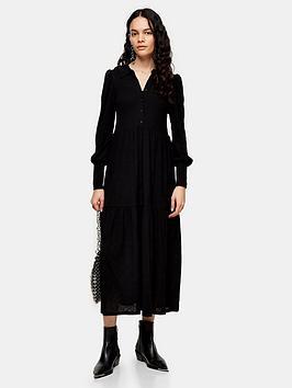 topshop-tiered-midi-dress-black