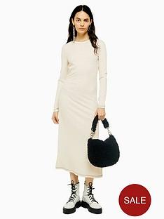 topshop-contrast-stitch-rib-midi-dress-ecru