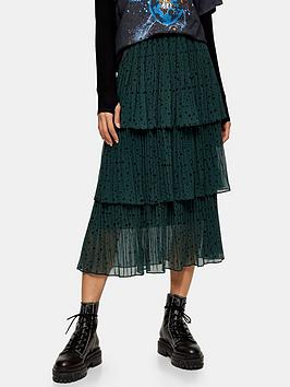 Topshop Topshop Star Tiered Pleat Midi Skirt - Green Picture