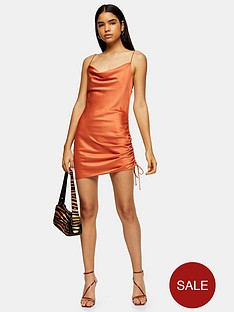 topshop-ruched-satin-slip-midi-dress-rust