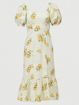 V by Very V By Very Shirred Back Square Neck Printed Linen Midi Dress -  ... Picture