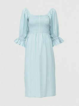 V by Very V By Very Shirred Body Linen Midi Dress - Blue Picture