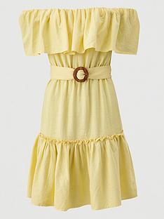 v-by-very-frill-bardot-mini-dress-yellow
