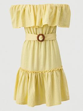 V by Very V By Very Frill Bardot Mini Dress - Yellow Picture
