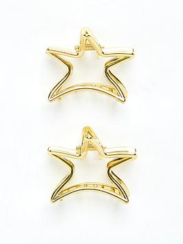 V by Very V By Very Star Hair Clips (2 Pack) - Gold Tone Picture