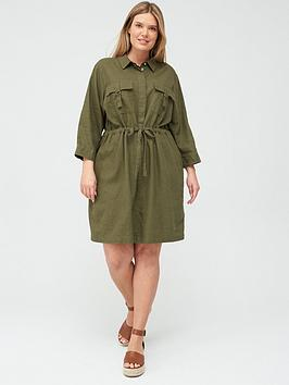 V by Very Curve V By Very Curve Linen Blend Utility Dress - Khaki Picture