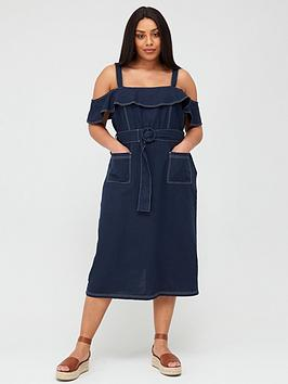 V by Very Curve V By Very Curve Linen Blend Contrast Stitch Belted Dress -  ... Picture