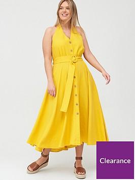 v-by-very-curve-linen-blend-halter-neck-dress-yellow
