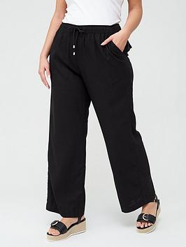 V by Very Curve V By Very Curve Linen Blend Trouser - Black Picture