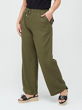 V by Very Curve V By Very Curve Linen Blend Trouser - Khaki Picture