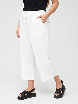V by Very Curve V By Very Curve Linen Blend Crop Trouser - White Picture