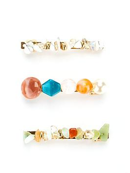 V by Very V By Very Beaded Hair Slides (3 Pack) - Multi Picture