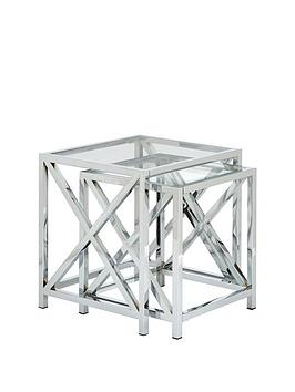 Christie Glass And Chrome Nest Of 2 Tables