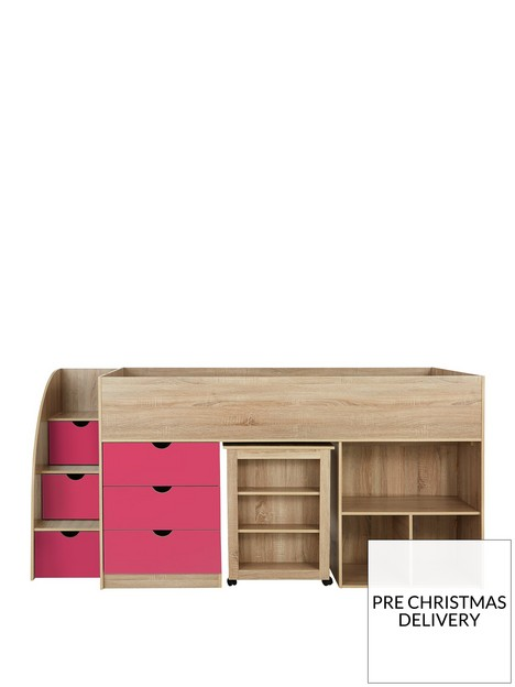 mico-mid-sleeper-bed-with-pull-out-desk-andnbspstorage-oak-effectpink