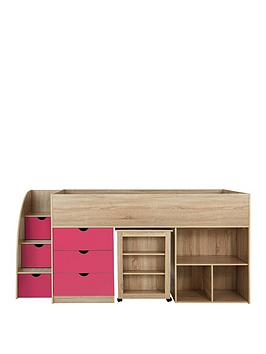 Very Mico Mid Sleeper Bed With Pull-Out Desk And Storage - Oak Effect/Pink  ... Picture