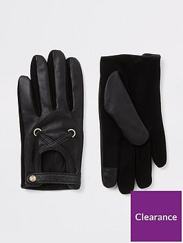river-island-river-island-leather-cutout-gloves-black
