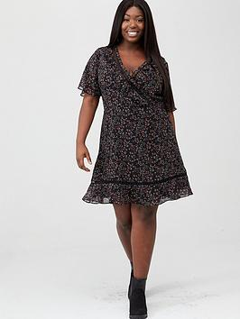 V by Very Curve V By Very Curve Lace Trim Tea Dress - Multi Picture