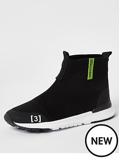 river-island-boys-high-top-knitted-trainers-black
