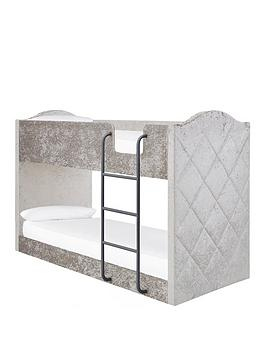 Product photograph showing Mandarin Fabric Bunk Bed With Mattress Options Buy And Save - Grey Silver - Bunk Bed Only
