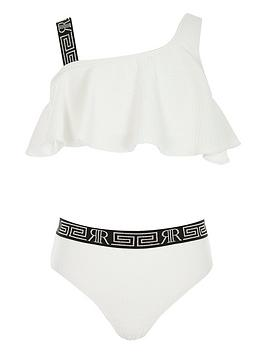 River Island River Island Girls Textured One Shoulder Bikini Set - White Picture