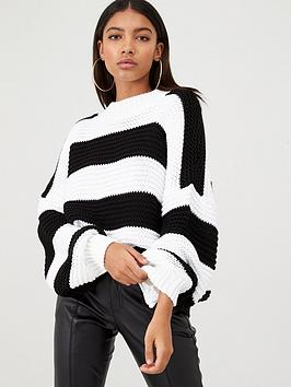 in-the-style-in-the-style-x-billie-faiers-chunky-stripe-knit-jumper-black