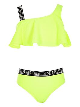 River Island River Island Girls Neon One Shoulder Bikini Set - Yellow Picture