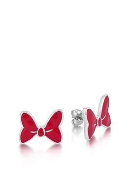 Disney Disney Disney Minnie Mouse Large Bow With Red Enamel Stud Earrings Picture