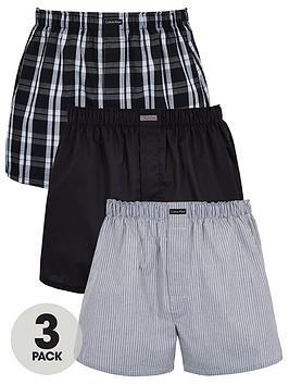 Calvin Klein   Three Pack Woven Boxer Shorts - Grey