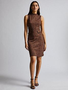 dorothy-perkins-animal-sleeveless-high-neck-midi-dress-brown