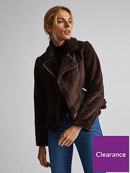 dorothy-perkins-faux-fur-sleevenbspbiker-jacket-brown