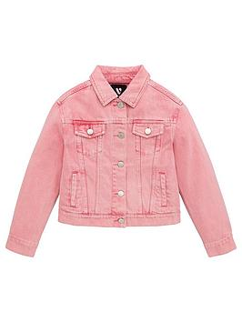 V by Very V By Very Girls Acid Wash Denim Jacket - Pink Picture