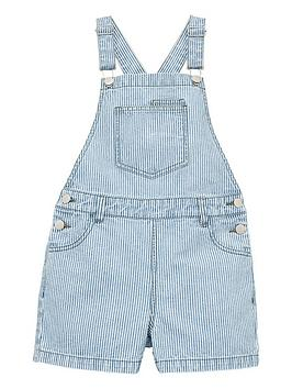 V by Very V By Very Girls Stripe Short Denim Dungarees - Stripe Picture