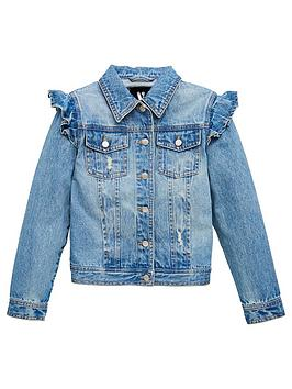 V by Very V By Very Girls Frill Denim Jacket - Denim Picture