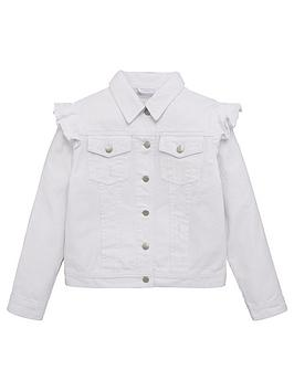 V By Very Girls Frill Denim Jacket - White