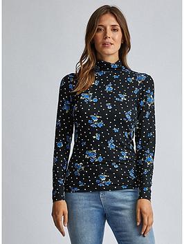 dorothy-perkins-dorothy-perkins-floral-dot-high-neck-long-sleeve-top-black