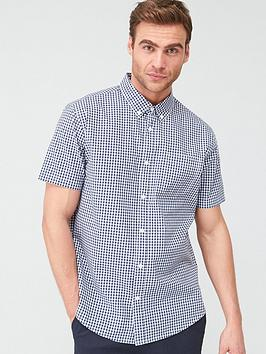 V by Very V By Very Gingham Check Short Sleeved Shirt - Navy Picture