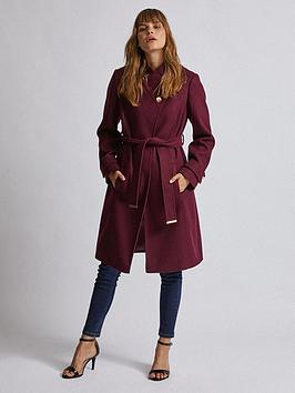 Dorothy Perkins Dorothy Perkins Wrap Coat - Burgundy Picture