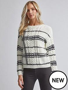 dorothy-perkins-dorothy-perkins-check-cable-knit-jumper-cream