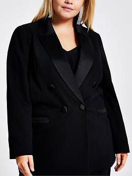 RI Plus Ri Plus Ri Plus Double Breasted Satin Trim Jacket - Black Picture