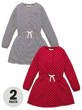 V by Very V By Very Girls 2 Pack Button Front Tie Waist Dresses - Multi Picture